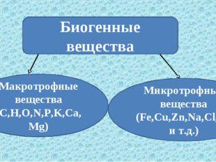 Биогенные вещества Макротрофные вещества (C,H,O,N,P,K,Ca,Mg) Микротрофные вещ