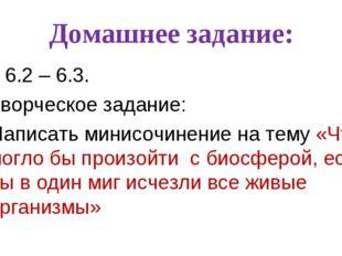 Домашнее задание: § 6.2 – 6.3. Творческое задание: Написать минисочинение на