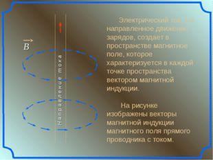 Электрический ток, т.е. направленное движение зарядов, создает в пространств