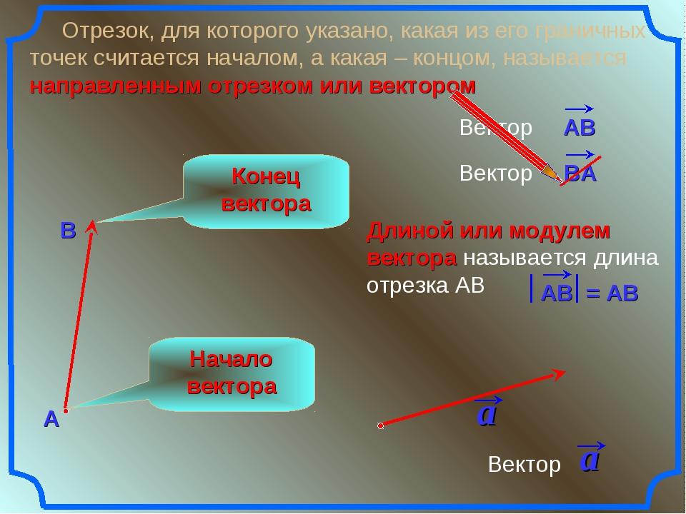 Длиной или модулем вектора называется длина отрезка АВ Отрезок, для которого...