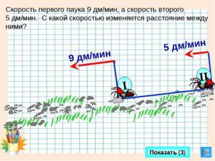 Показать (3) Скорость первого паука 9 дм/мин, а скорость второго 5 дм/мин. С