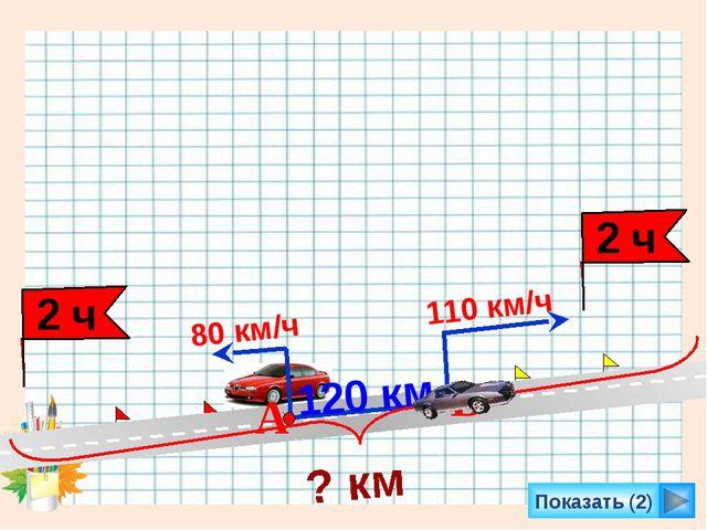 Показать (2) 110 км/ч 80 км/ч 120 км А В ? км 2 ч 2 ч Л.Г. Петерсон «Математи...