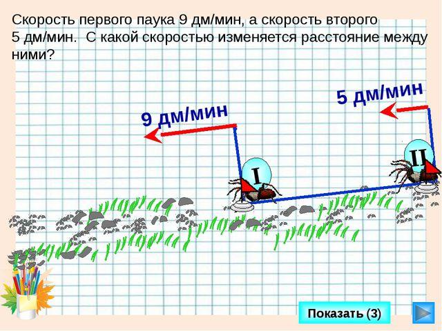 Показать (3) Скорость первого паука 9 дм/мин, а скорость второго 5 дм/мин. С...