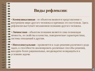 . Виды рефлексии: • Коммуникативная - ее объектом являются представления о в