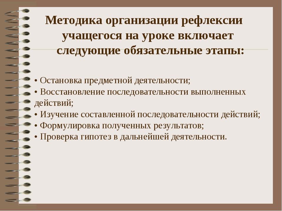 Методика организации рефлексии учащегося на уроке включает следующие обязате...