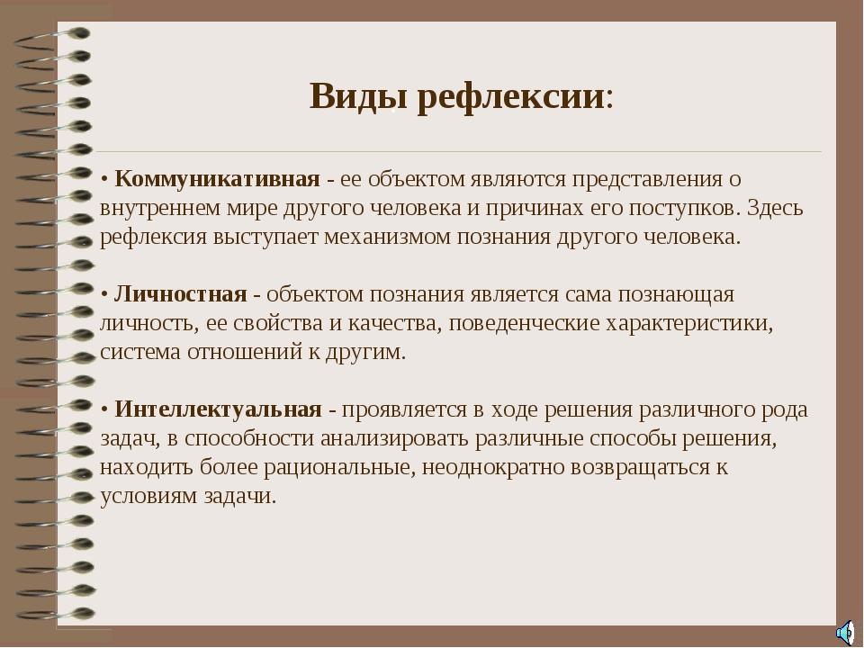 . Виды рефлексии: • Коммуникативная - ее объектом являются представления о в...