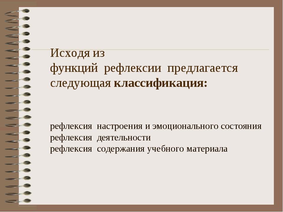 Исходя из функцийрефлексиипредлагается следующая классификация: рефлексия...