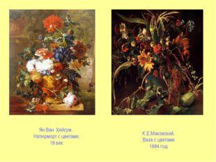 Ян Ван Хейсум . Натюрморт с цветами. 18 век К.Е.Маковский. Ваза с цветами 188