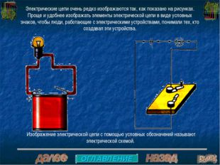 Электрические цепи очень редко изображаются так, как показано на рисунках. Пр