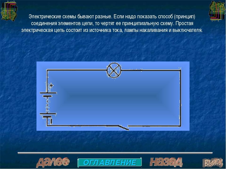 Электрические схемы бывают разные. Если надо показать способ (принцип) соедин...