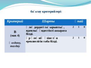 бағалау критерийлері: Критерий Шарты Ұпай В (мах4) Қолдану,талдау Өлеңдердег