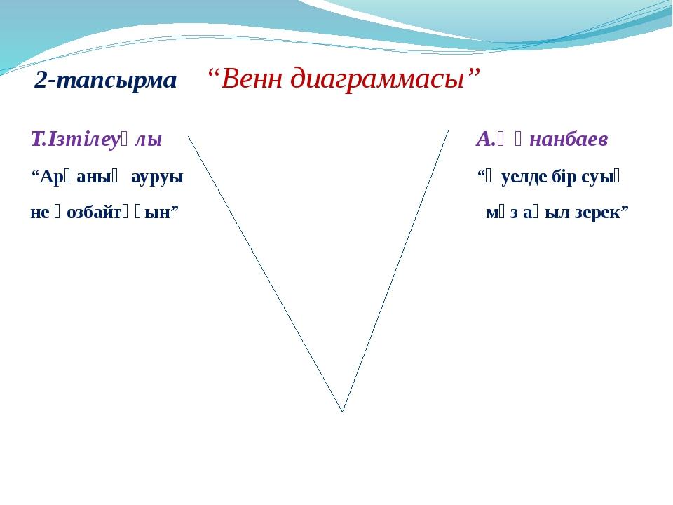 """2-тапсырма """"Венн диаграммасы"""" Т.Ізтілеуұлы А.Құнанбаев """"Арқаның ауруы """"Әуелде..."""
