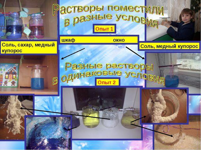 Опыт 1 шкаф окно Соль, сахар, медный купорос Соль, медный купорос Опыт 2