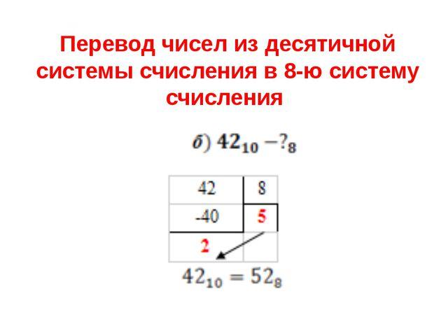 Перевод чисел из десятичной системы счисления в 8-ю систему счисления