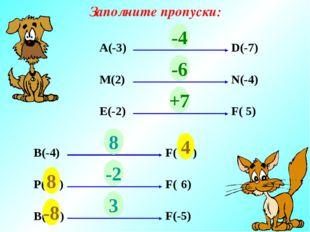 Заполните пропуски: А(-3) D(-7) ? М(2) N(-4) ? E(-2) F( 5) ? -4 -6 +7 В(-4) F