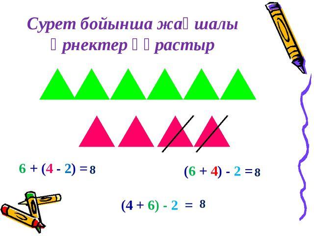 Сурет бойынша жақшалы өрнектер құрастыр 6 + (4 - 2) = (6 + 4) - 2 = (4 + 6) -...