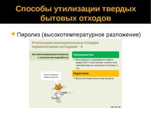 Способы утилизации твердых бытовых отходов Пиролиз (высокотемпературное разло