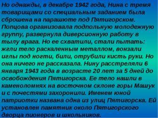 Но однажды, в декабре 1942 года, Нина с тремя товарищами со специальным задан
