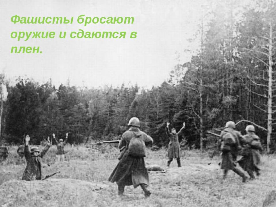 Фашисты бросают оружие и сдаются в плен.