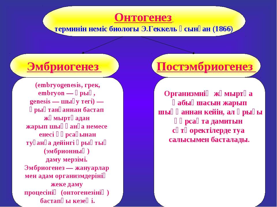 Онтогенез терминін неміс биологы Э.Геккель үсынған (1866) Постэмбриогенез Эмб...