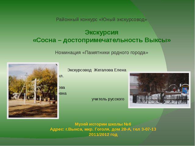 Музей истории школы №6 Адрес: г.Выкса, мкр. Гоголя, дом 28-А, тел 3-07-13 201...