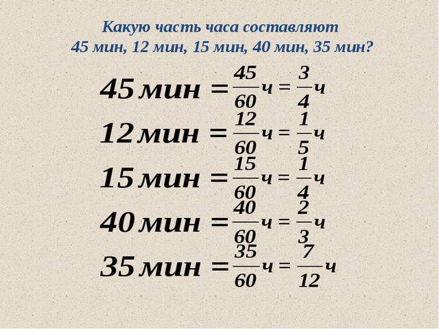 Какую часть часа составляют 45 мин, 12 мин, 15 мин, 40 мин, 35 мин? 10.05.201...