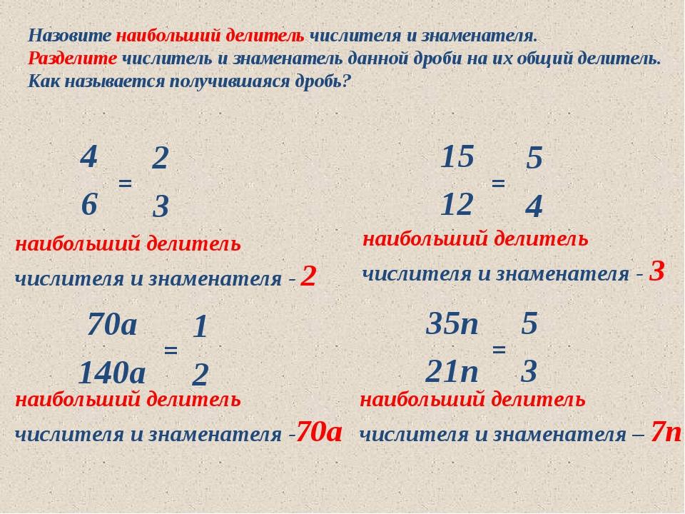 10.05.2012 www.konspekturoka.ru Назовите наибольший делитель числителя и знам...