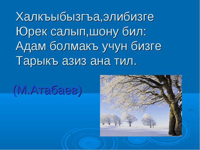 Халкъыбызгъа,элибизге Юрек салып,шону бил: Адам болмакъ учун бизге Тарыкъ аз...