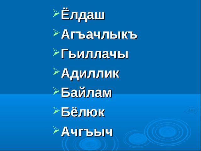 Ёлдаш Агъачлыкъ Гьиллачы Адиллик Байлам Бёлюк Ачгъыч
