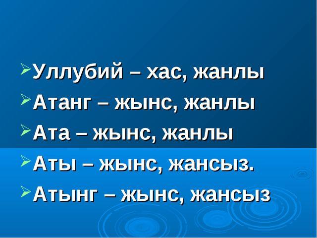 Уллубий – хас, жанлы Атанг – жынс, жанлы Ата – жынс, жанлы Аты – жынс, жансыз...