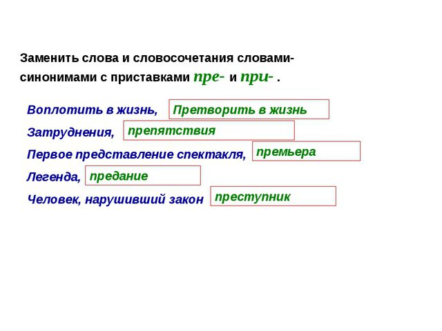 Заменить слова и словосочетания словами-синонимами с приставками пре- и при-...