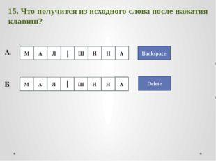 Backspace 15. Что получится из исходного слова после нажатия клавиш? А. Delet