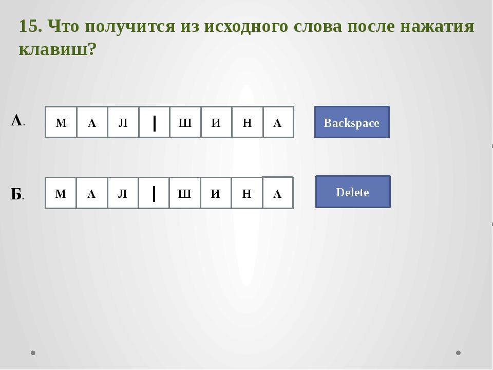 Backspace 15. Что получится из исходного слова после нажатия клавиш? А. Delet...