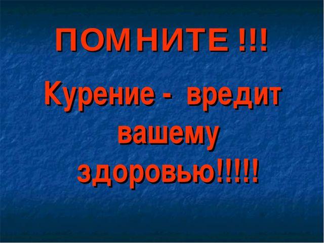 ПОМНИТЕ !!! Курение - вредит вашему здоровью!!!!!
