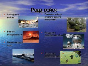 Рода войск Сухопутные войска Военно-воздушные силы Военно-морской флот Ракетн