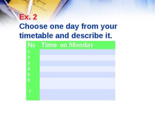 Ex. 2 Choose one day from your timetable and describe it. №Time on Monday 1