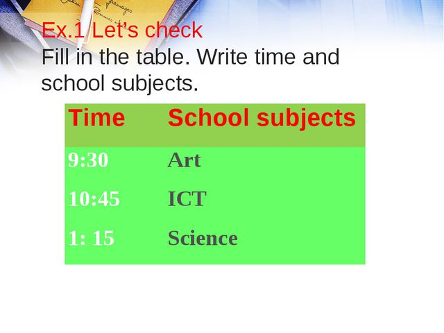 Ex.1 Let's check Fill in the table. Write time and school subjects. Time Sch...