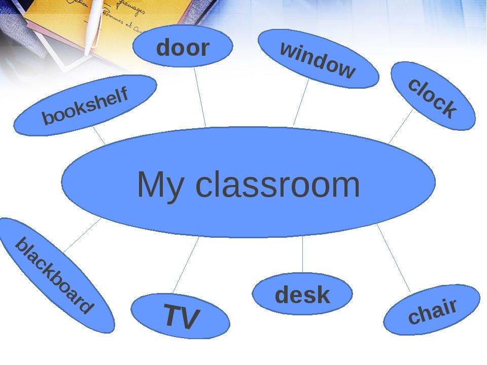 My classroom bookshelf door window clock TV desk chair blackboard