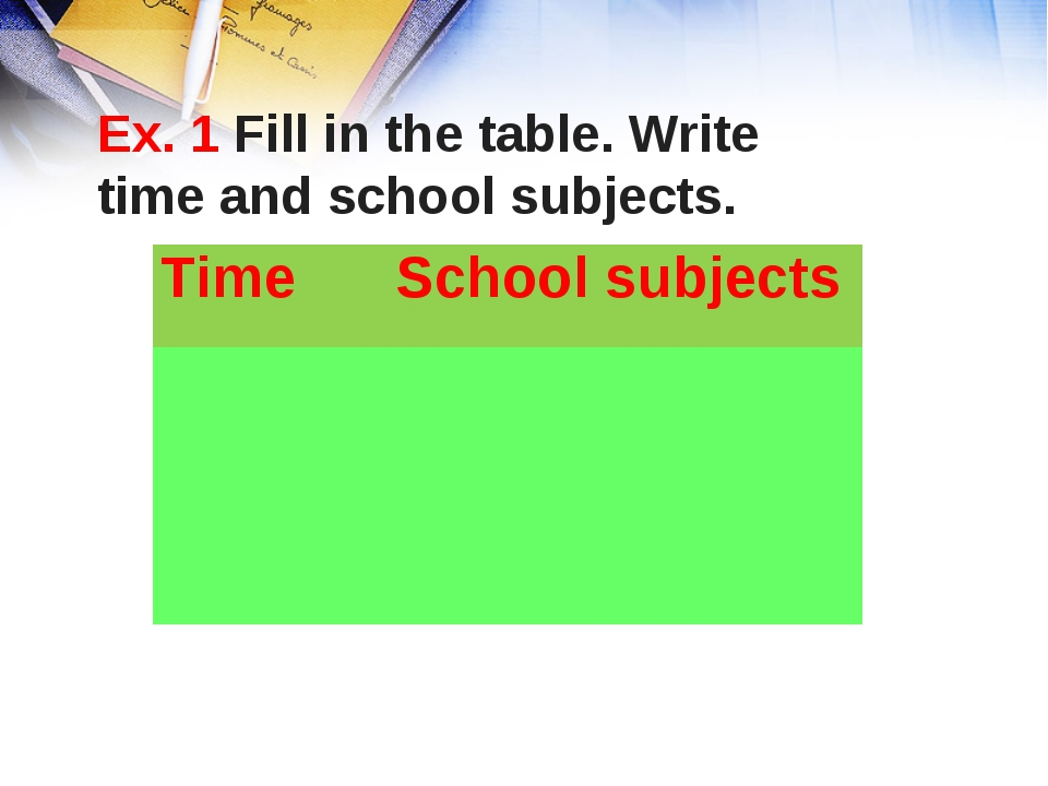 Ex. 1 Fill in the table. Write time and school subjects. Time School subjec...