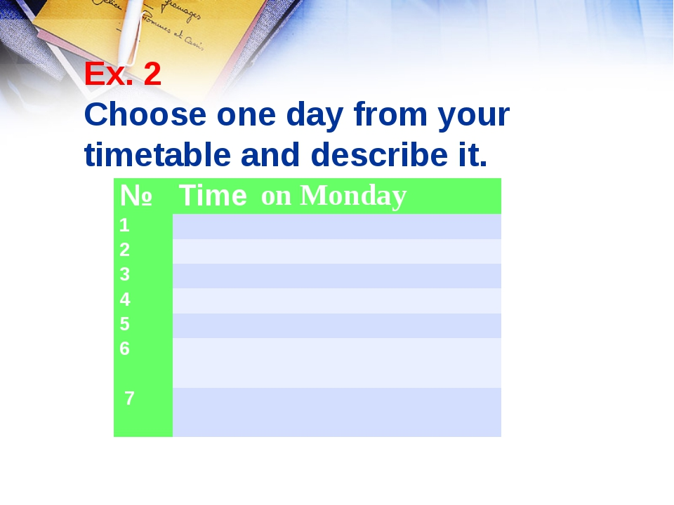 Ex. 2 Choose one day from your timetable and describe it. №Time on Monday 1...