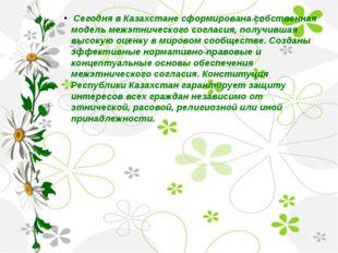 Сегодня в Казахстане сформирована собственная модель межэтнического согласия