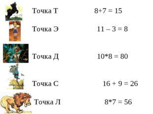 Точка Т 8+7 = 15 Точка Э 11 – 3 = 8 Точка Д 10*8 = 80 Точка С 16 + 9 = 26 То