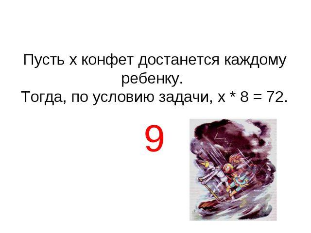 Пусть х конфет достанется каждому ребенку. Тогда, по условию задачи, х * 8 =...