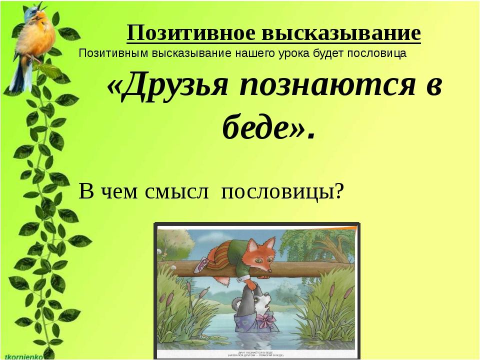 Позитивное высказывание Позитивным высказывание нашего урока будет пословица...