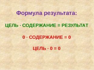 Формула результата: ЦЕЛЬ ∙ СОДЕРЖАНИЕ = РЕЗУЛЬТАТ 0 ∙ СОДЕРЖАНИЕ = 0 ЦЕЛЬ ∙ 0