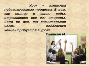 Урок – клеточка педагогического процесса. В нем, как солнце в капле воды, от