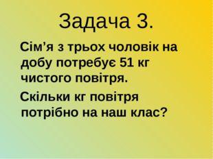 Задача 3. Сім'я з трьох чоловік на добу потребує 51 кг чистого повітря. Скіль
