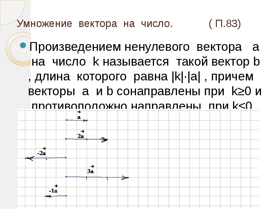 Умножение вектора на число. ( П.83) Произведением ненулевого вектора а на чис...