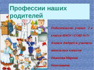 Профессии наших родителей Подготовили: ученик 2 в класса МАОУ «СОШ №7» Азанов