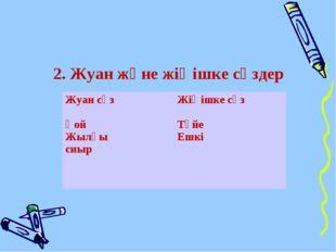 2. Жуан және жіңішке сөздер Жуан сөз Қой Жылқы сиырЖіңішке сөз Түйе Ешкі